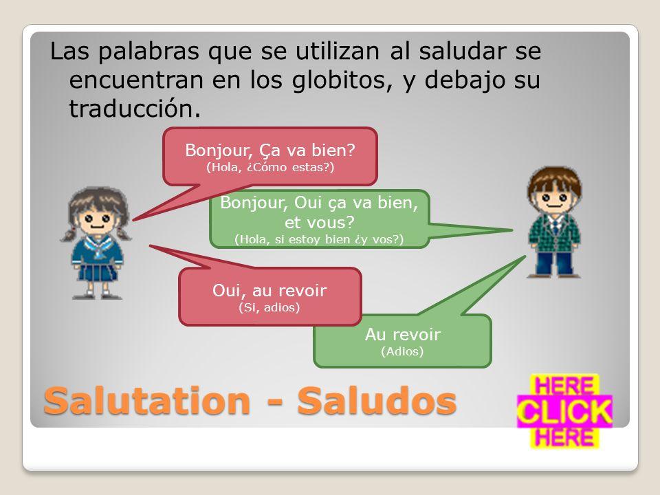 Las palabras que se utilizan al saludar se encuentran en los globitos, y debajo su traducción.