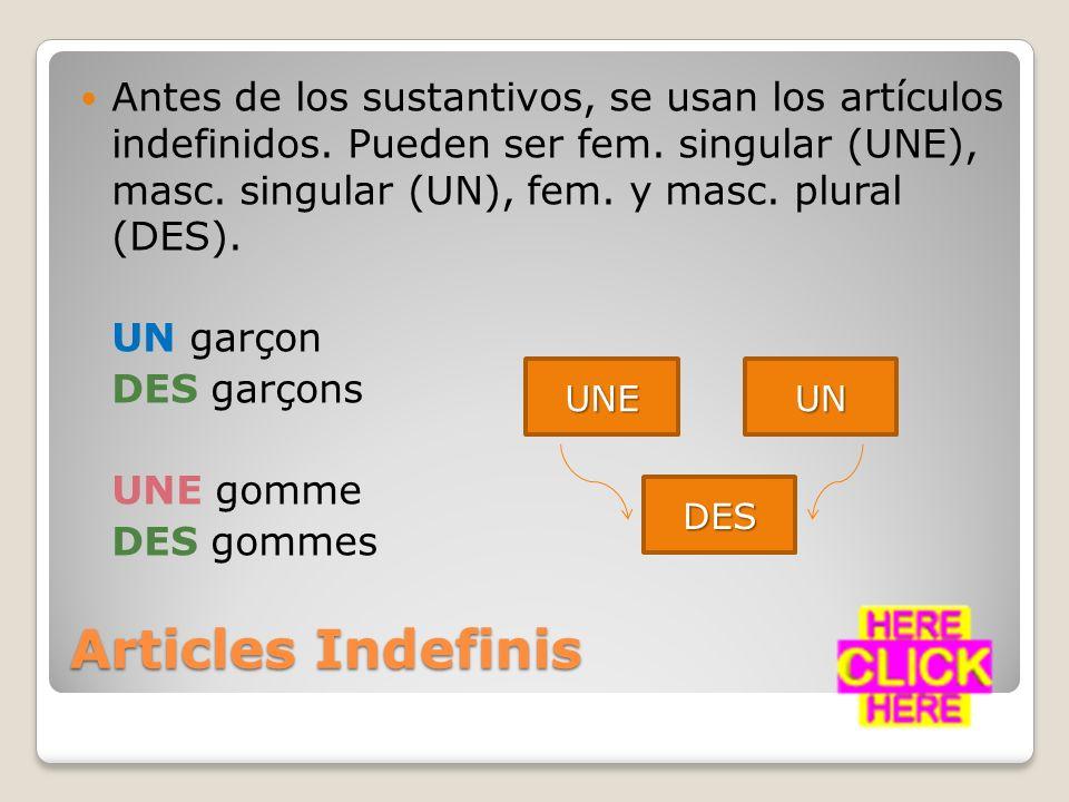 Antes de los sustantivos, se usan los artículos indefinidos