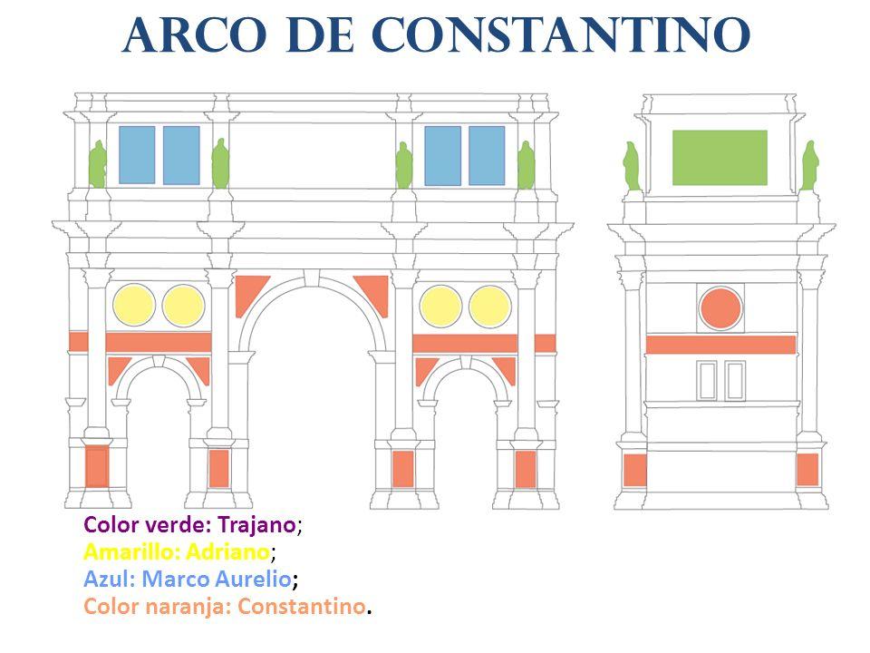 Arco de Constantino Color verde: Trajano; Amarillo: Adriano;