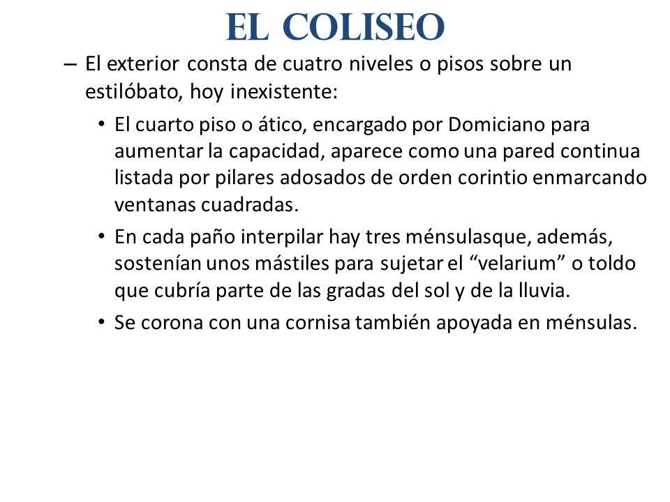 El coliseoEl exterior consta de cuatro niveles o pisos sobre un estilóbato, hoy inexistente: