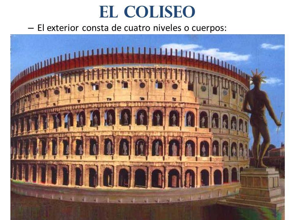 El coliseo El exterior consta de cuatro niveles o cuerpos: