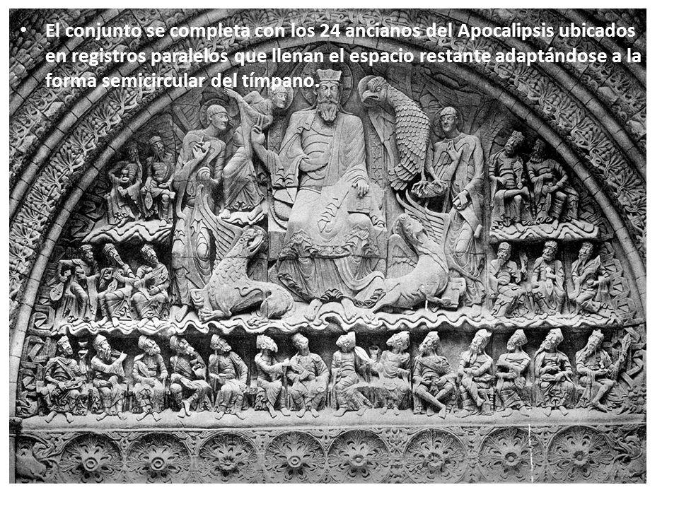 El conjunto se completa con los 24 ancianos del Apocalipsis ubicados en registros paralelos que llenan el espacio restante adaptándose a la forma semicircular del tímpano.