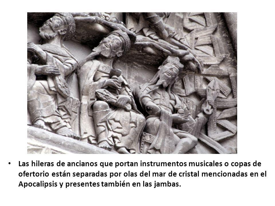 Las hileras de ancianos que portan instrumentos musicales o copas de ofertorio están separadas por olas del mar de cristal mencionadas en el Apocalipsis y presentes también en las jambas.