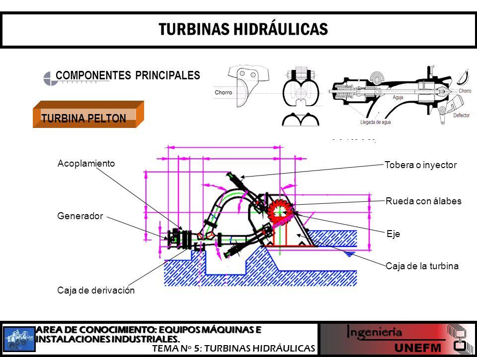 TURBINAS HIDRÁULICAS Ingeniería COMPONENTES PRINCIPALES TURBINA PELTON