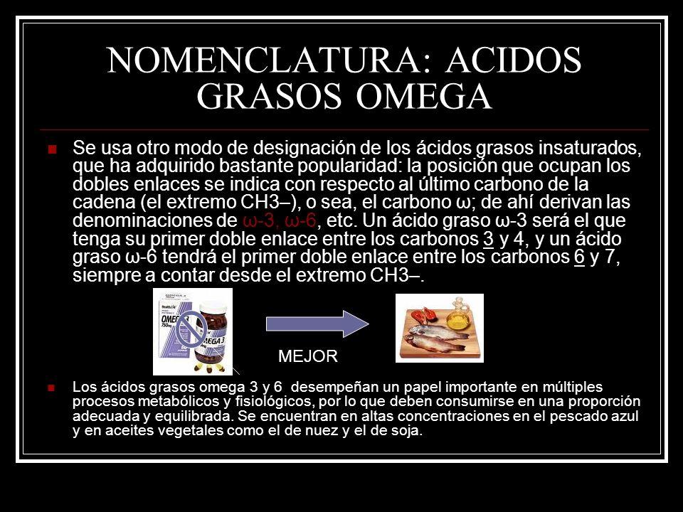 NOMENCLATURA: ACIDOS GRASOS OMEGA