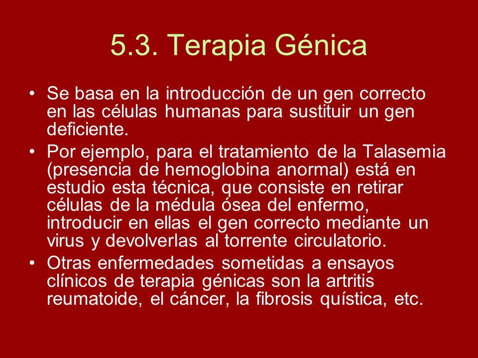 5.3. Terapia GénicaSe basa en la introducción de un gen correcto en las células humanas para sustituir un gen deficiente.