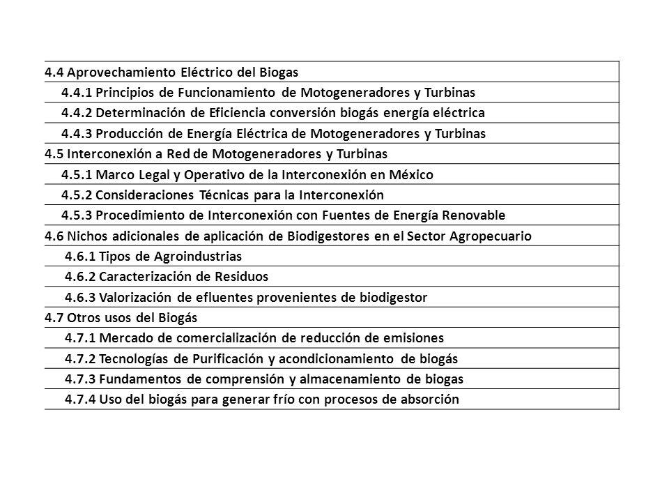4.4 Aprovechamiento Eléctrico del Biogas