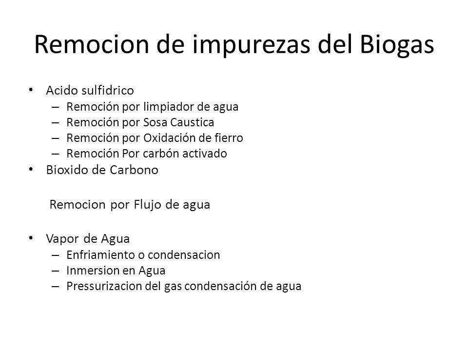 Remocion de impurezas del Biogas