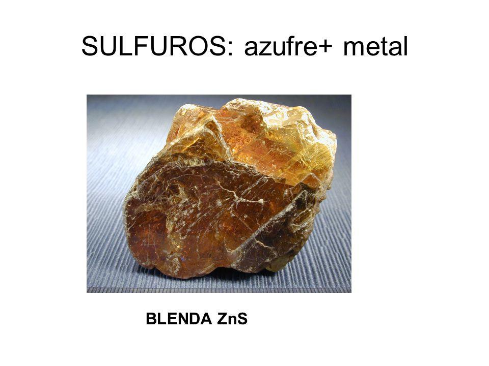 SULFUROS: azufre+ metal