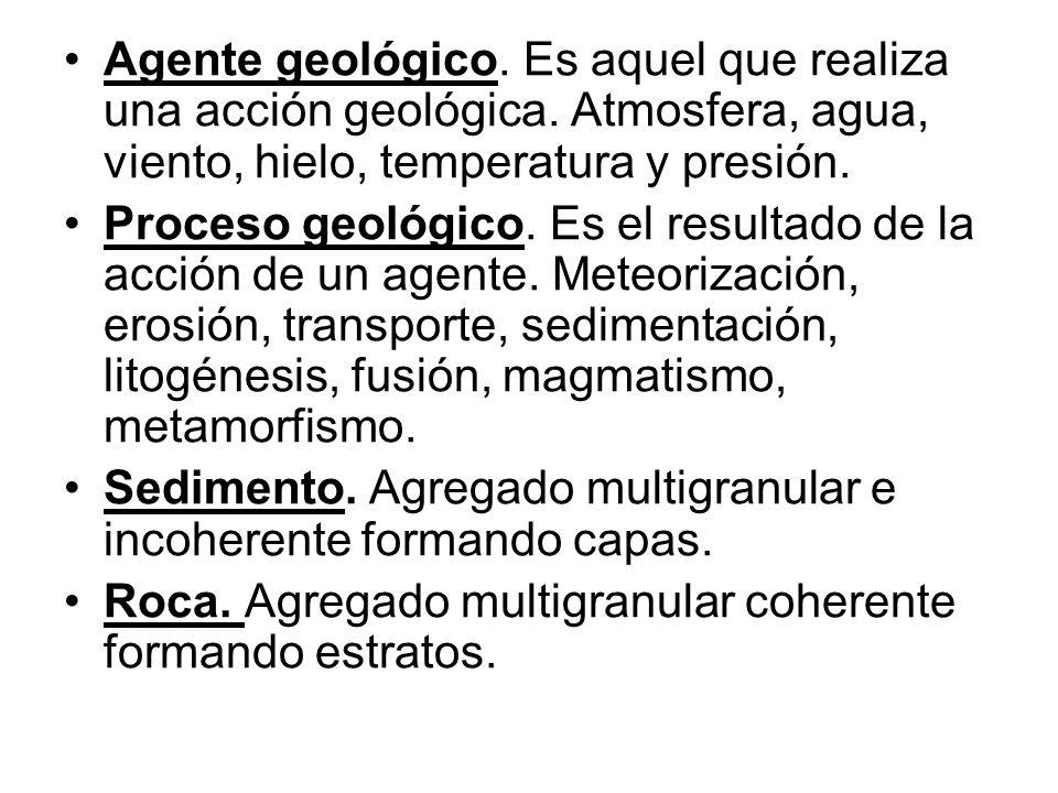 Agente geológico. Es aquel que realiza una acción geológica