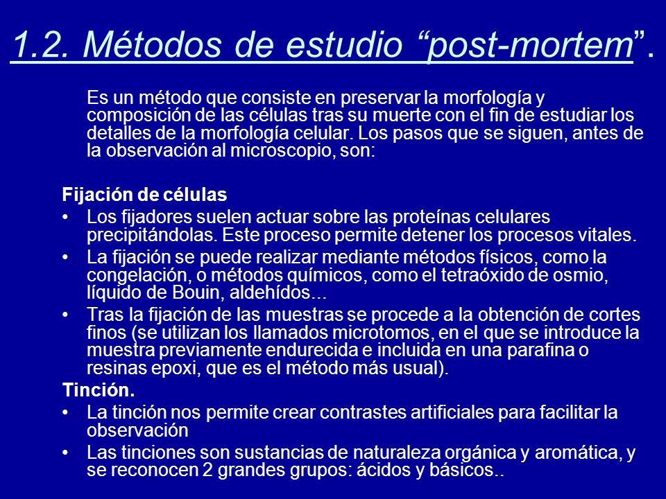 1.2. Métodos de estudio post-mortem .