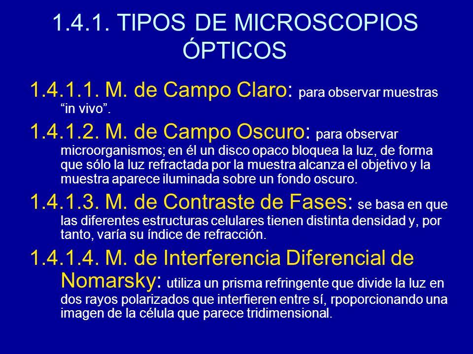 1.4.1. TIPOS DE MICROSCOPIOS ÓPTICOS