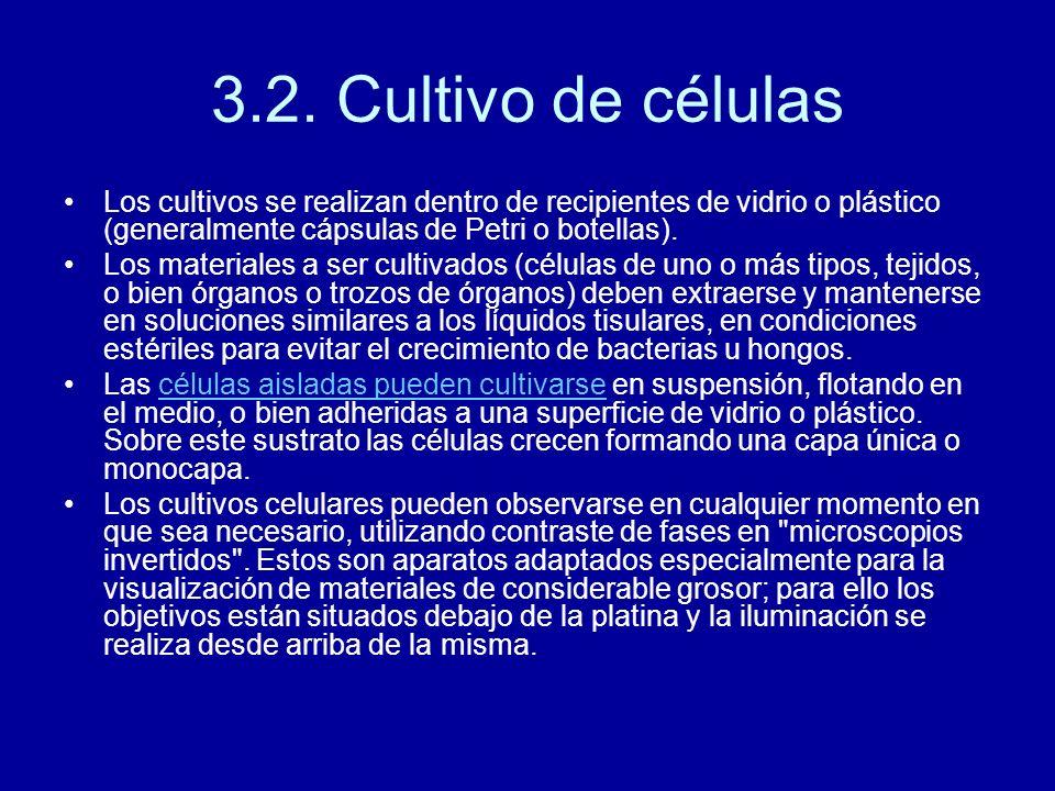 3.2. Cultivo de células Los cultivos se realizan dentro de recipientes de vidrio o plástico (generalmente cápsulas de Petri o botellas).