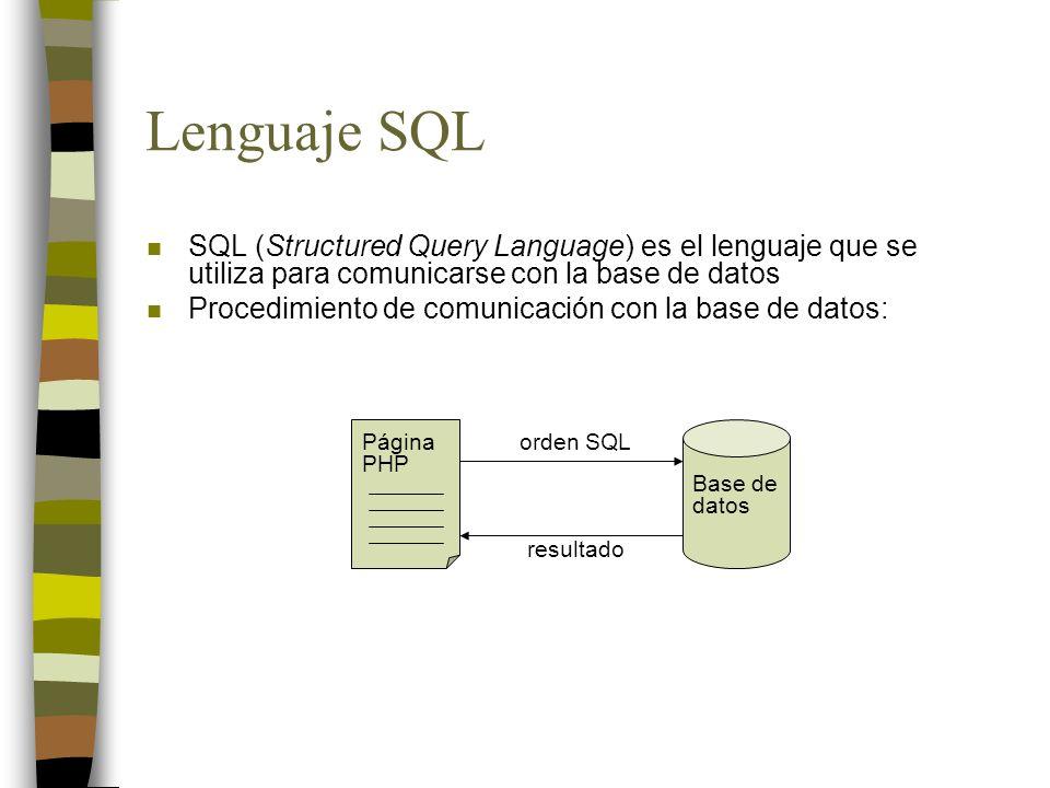 Lenguaje SQL SQL (Structured Query Language) es el lenguaje que se utiliza para comunicarse con la base de datos.