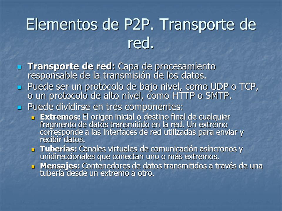 Elementos de P2P. Transporte de red.