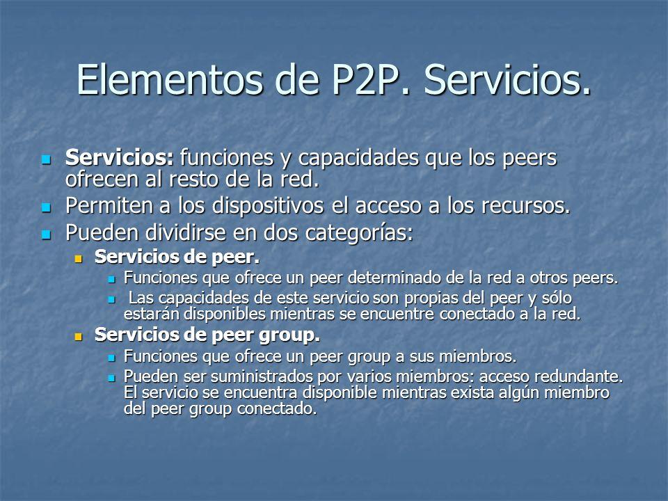 Elementos de P2P. Servicios.