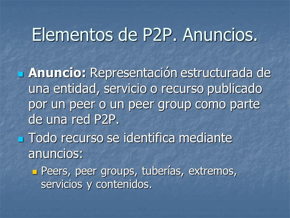 Elementos de P2P. Anuncios.