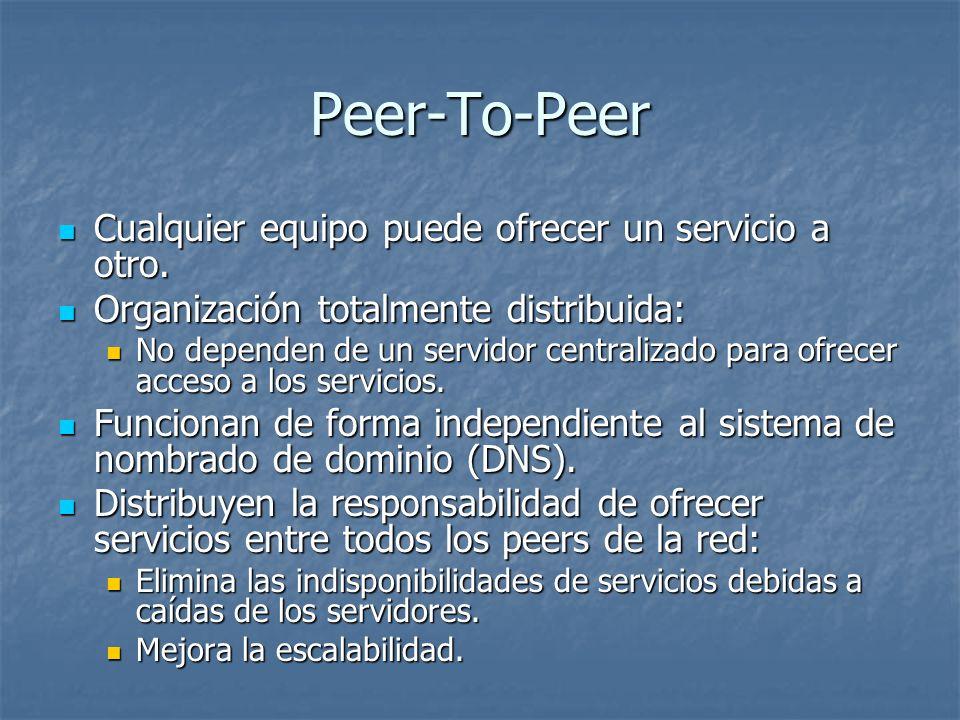 Peer-To-Peer Cualquier equipo puede ofrecer un servicio a otro.
