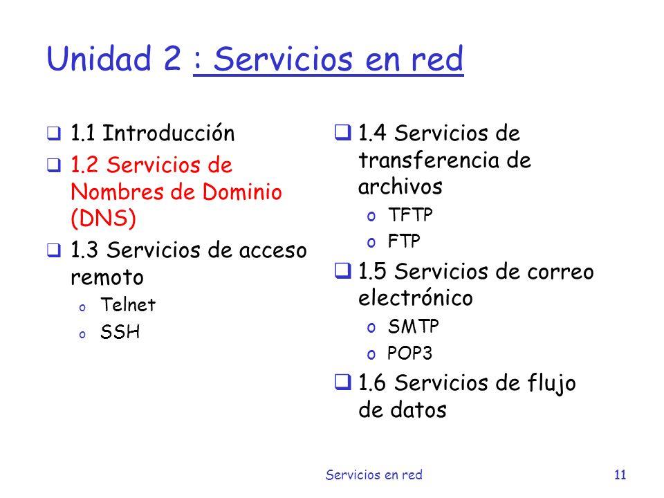 Unidad 2 : Servicios en red