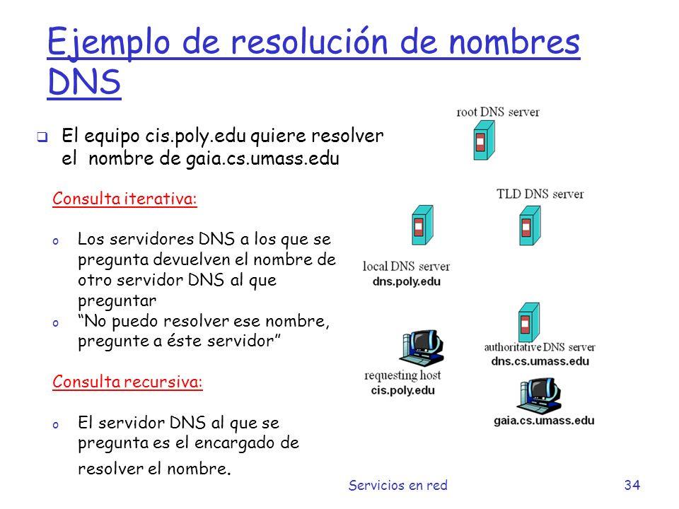 Ejemplo de resolución de nombres DNS