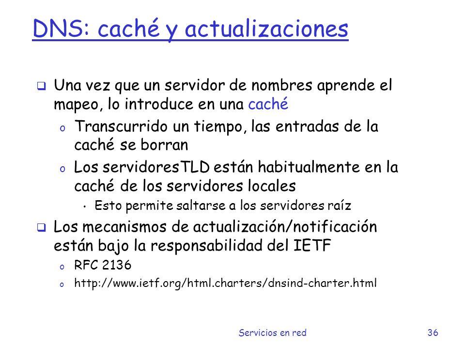 DNS: caché y actualizaciones