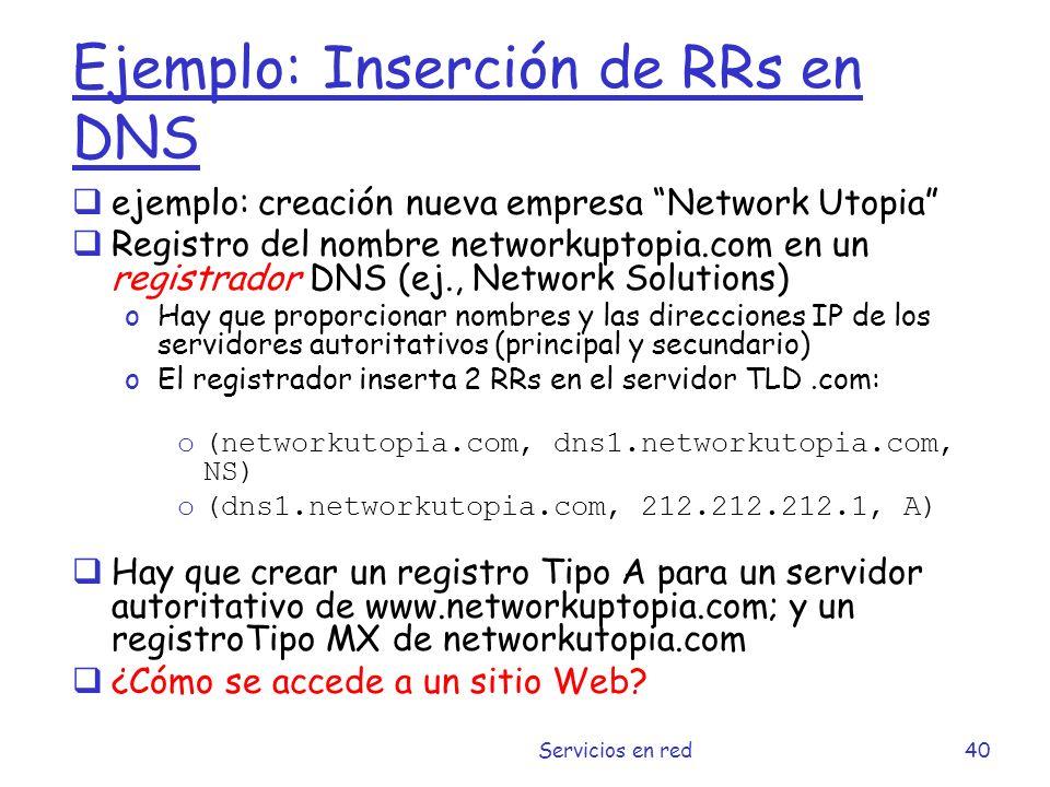 Ejemplo: Inserción de RRs en DNS
