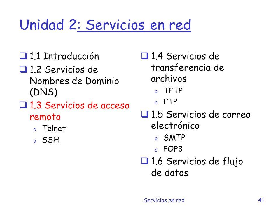 Unidad 2: Servicios en red