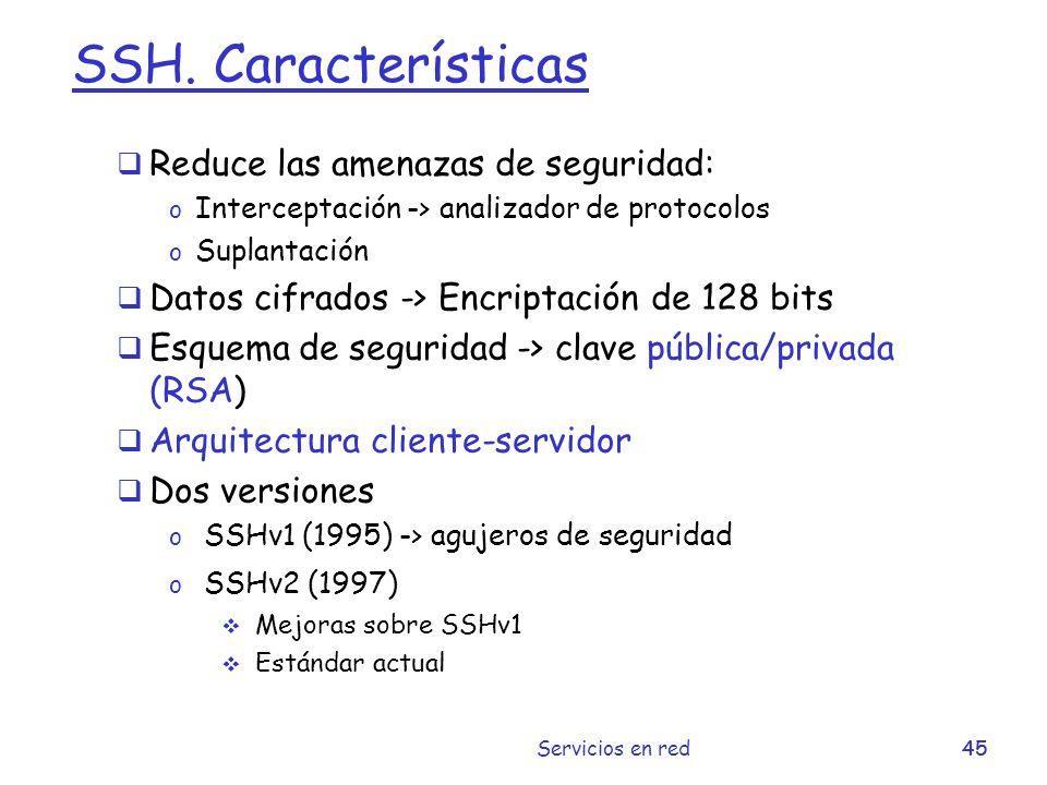 SSH. Características Reduce las amenazas de seguridad: