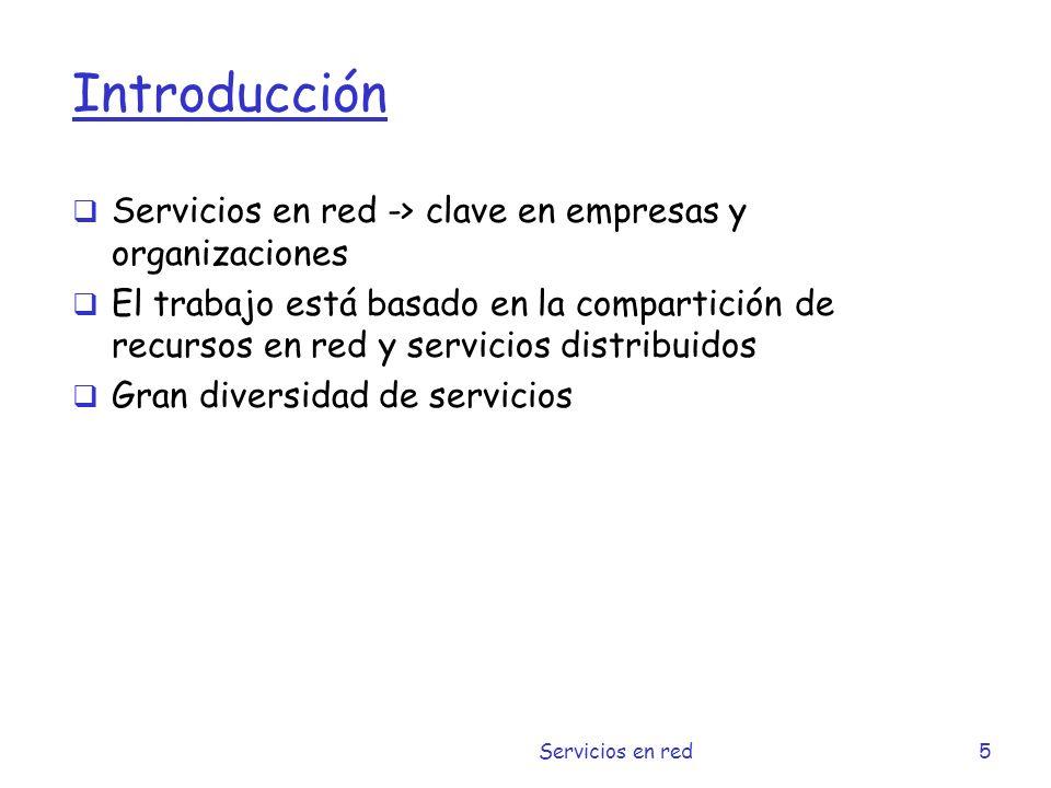 Introducción Servicios en red -> clave en empresas y organizaciones
