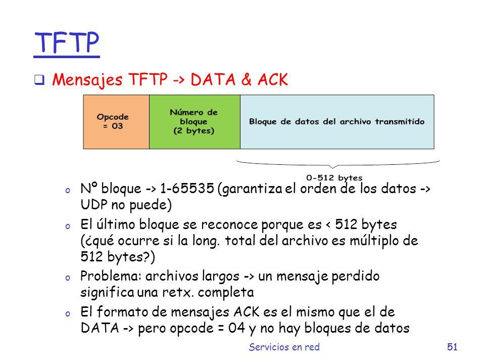TFTP Mensajes TFTP -> DATA & ACK