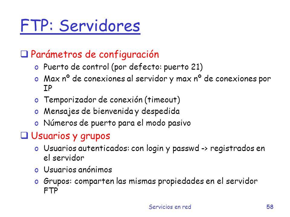 FTP: Servidores Parámetros de configuración Usuarios y grupos