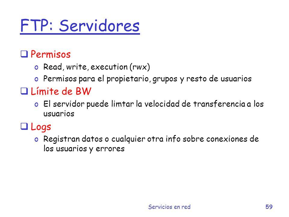 FTP: Servidores Permisos Límite de BW Logs