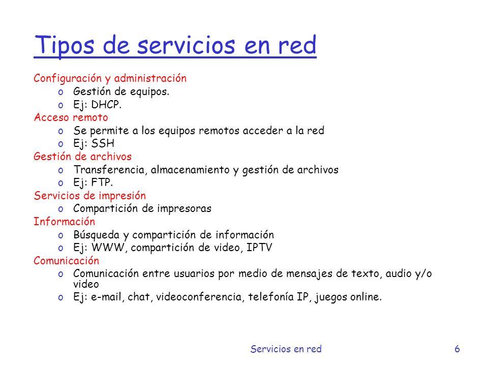 Tipos de servicios en red