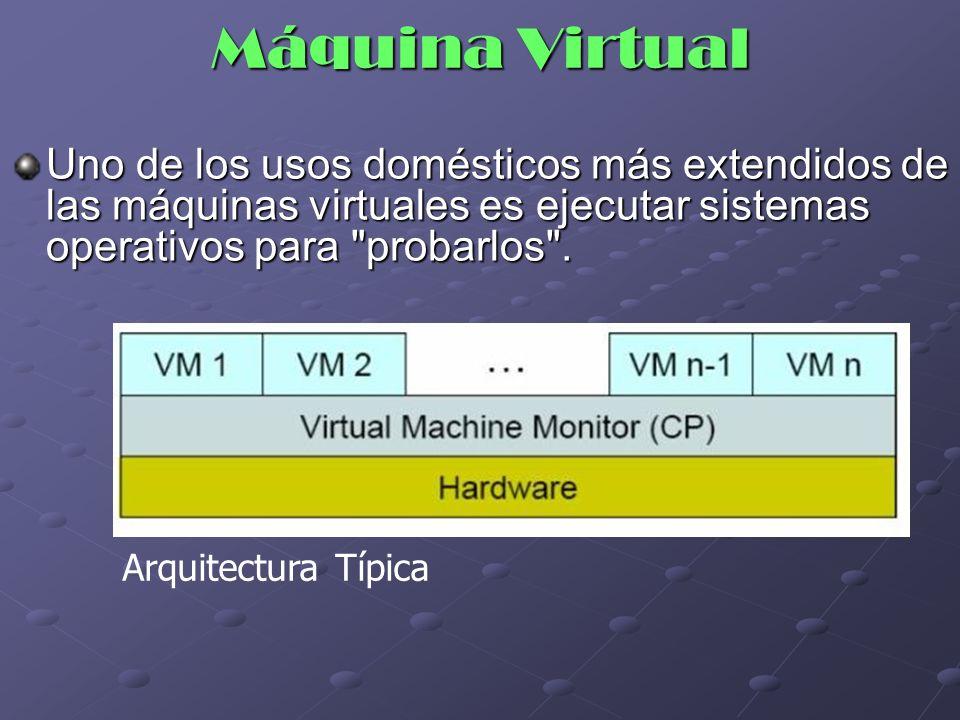 Máquina Virtual Uno de los usos domésticos más extendidos de las máquinas virtuales es ejecutar sistemas operativos para probarlos .