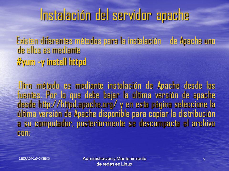 Instalación del servidor apache