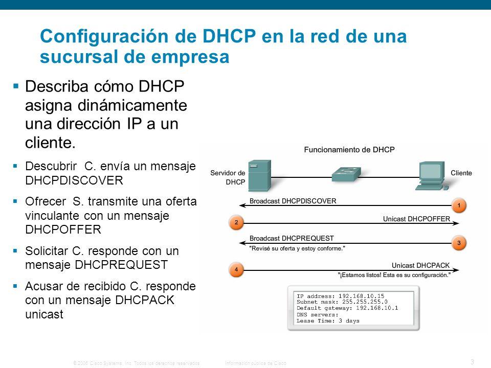 Configuración de DHCP en la red de una sucursal de empresa