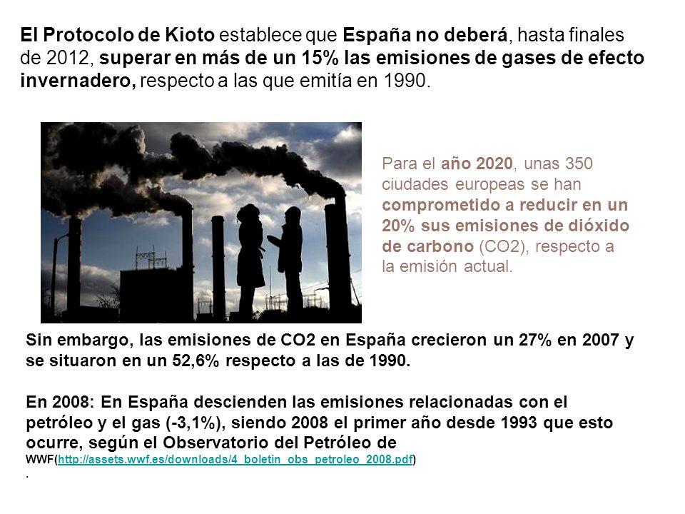 El Protocolo de Kioto establece que España no deberá, hasta finales de 2012, superar en más de un 15% las emisiones de gases de efecto invernadero, respecto a las que emitía en 1990.