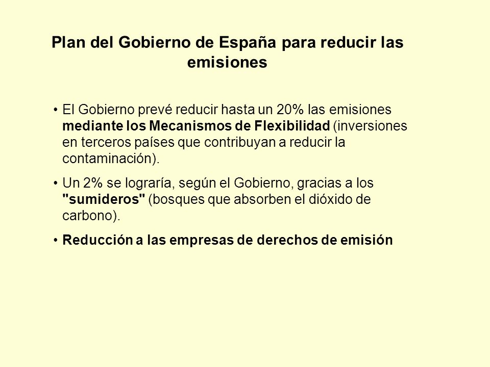 Plan del Gobierno de España para reducir las emisiones