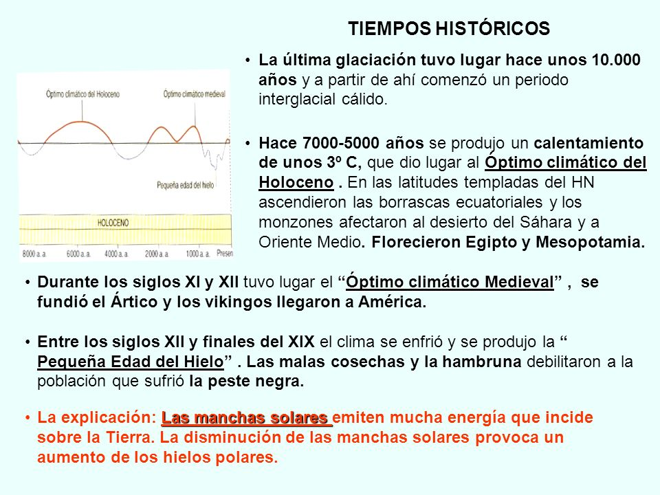 TIEMPOS HISTÓRICOSLa última glaciación tuvo lugar hace unos 10.000 años y a partir de ahí comenzó un periodo interglacial cálido.