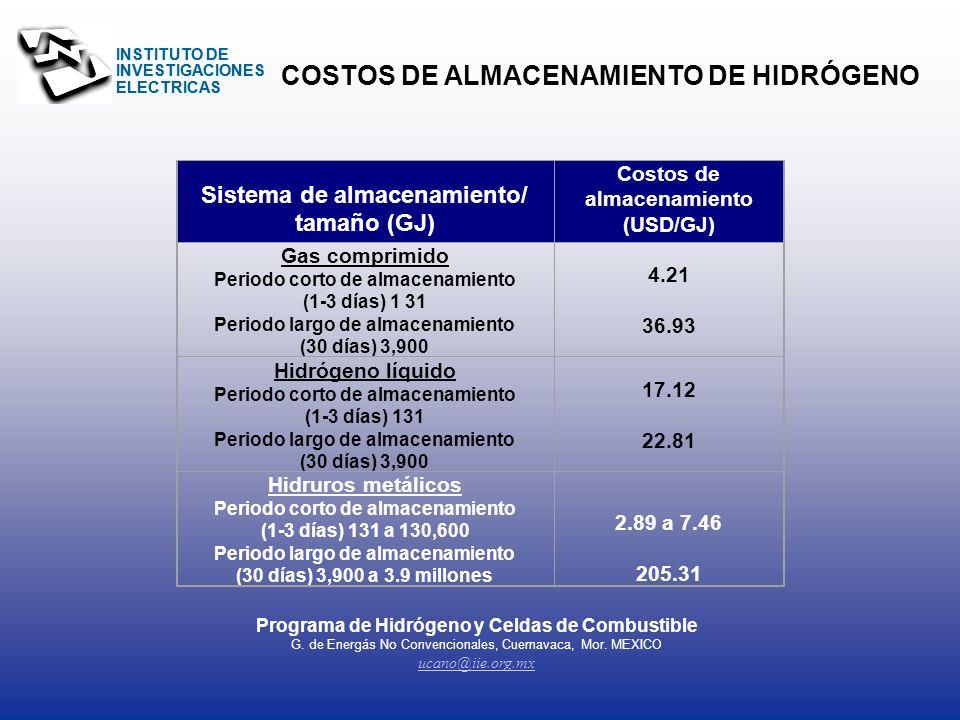 COSTOS DE ALMACENAMIENTO DE HIDRÓGENO
