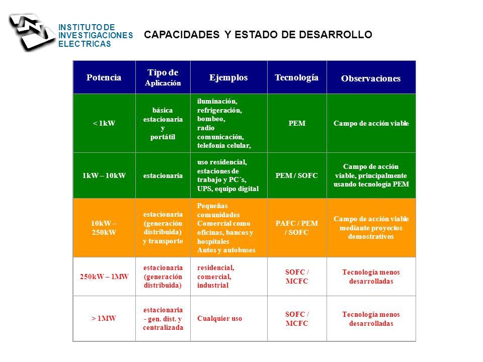 CAPACIDADES Y ESTADO DE DESARROLLO