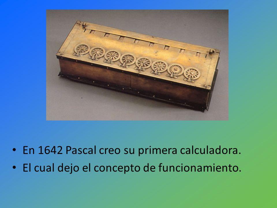 En 1642 Pascal creo su primera calculadora.