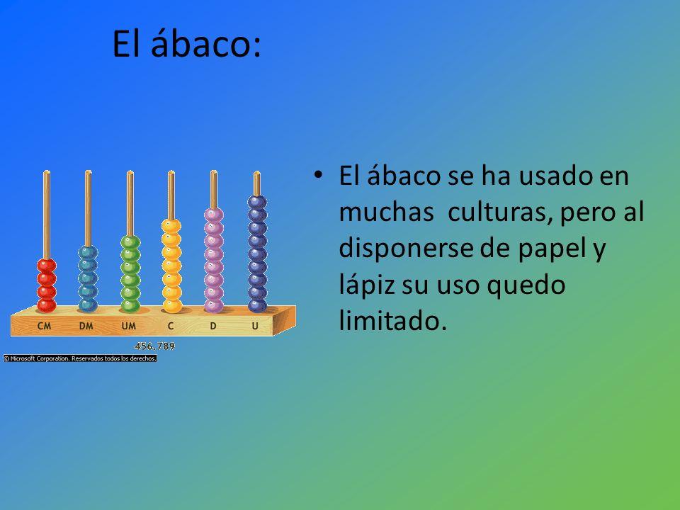 El ábaco:El ábaco se ha usado en muchas culturas, pero al disponerse de papel y lápiz su uso quedo limitado.