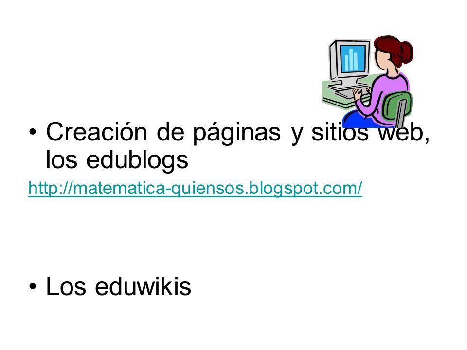 Creación de páginas y sitios web, los edublogs