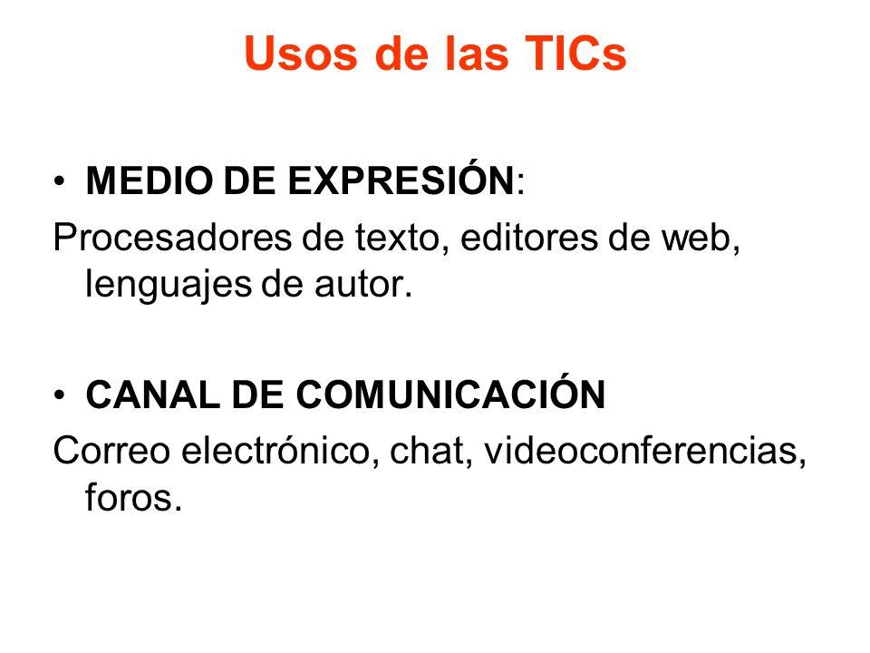 Usos de las TICs MEDIO DE EXPRESIÓN: