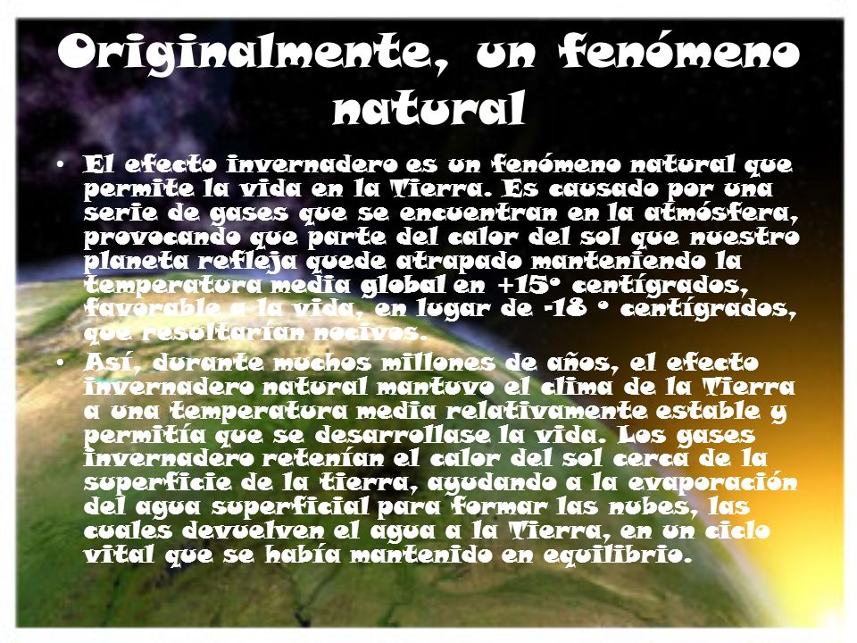 Originalmente, un fenómeno natural