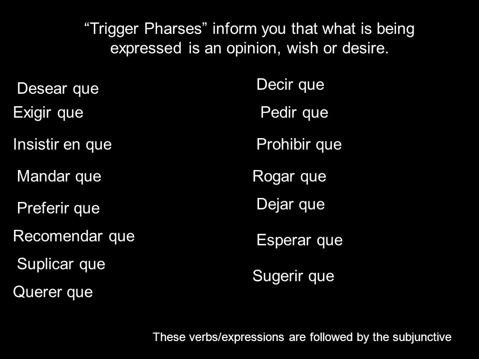 Trigger Pharses inform you that what is being expressed is an opinion, wish or desire.