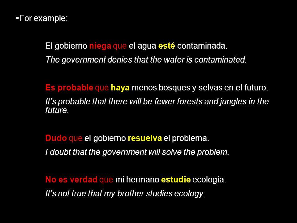 For example:El gobierno niega que el agua esté contaminada. The government denies that the water is contaminated.