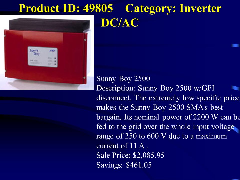 Product ID: Category: Inverter DC/AC