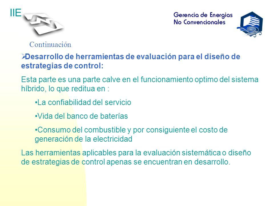 Continuación Desarrollo de herramientas de evaluación para el diseño de estrategias de control:
